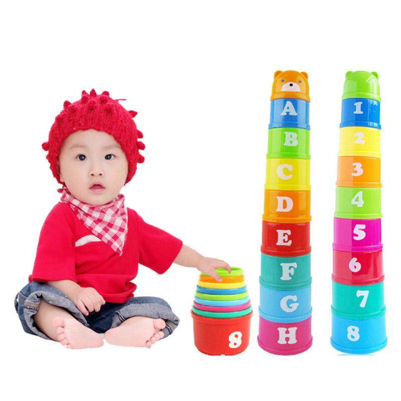 Colorful Bear head Jengle Early childhood educational toys English alphabet Arabic numerals  Fun Stacks Cup brain game Bright colors