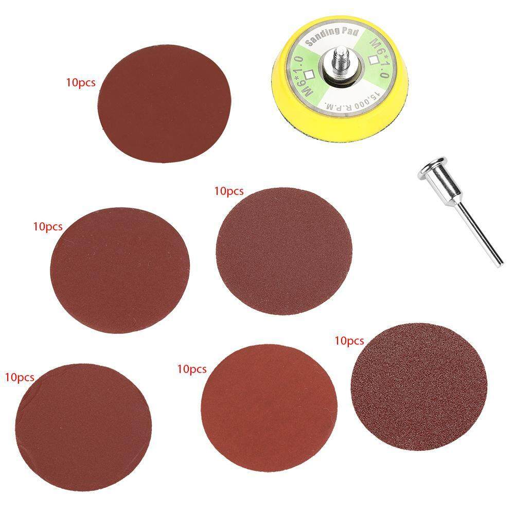 60PCS 2-inch Round Shape Red Sanding Discs 100 240 600 800 1000 2000# Grit Sand Papers