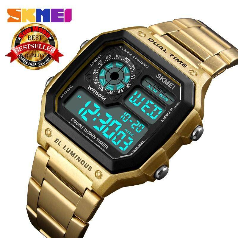 SKMEI Men Digital  Watches Men Count Down Waterproof Sport Watch Sport Fashion Stainless Steel Wristwatch Male Clock Malaysia