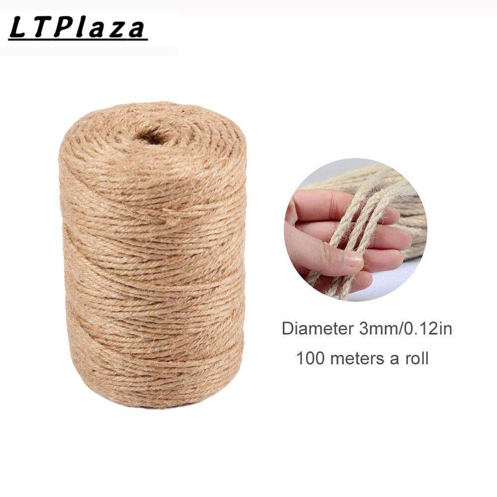 Jute Twine 100m Natural Jute String Rolls Durable Arts Crafts Packing Twine for Gardening Photos Gifts (2mm,3mm)