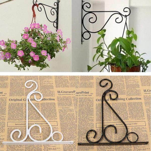 Yliho Hanging Iron Wall Lights, Garden Hanging Plant Pots, Flower Pots Hooks Rack Wall Mounted Bracket Holder
