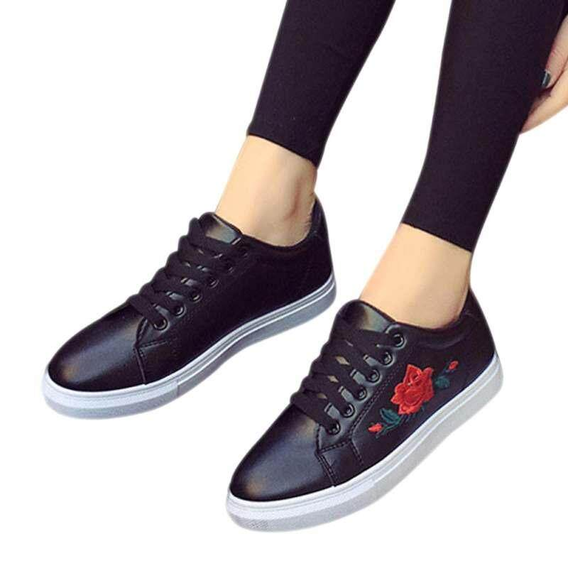 6eea27d1ce YBC Fashion Women Spring Rose Embroidery Creepers Platform Casual Flat Shoes