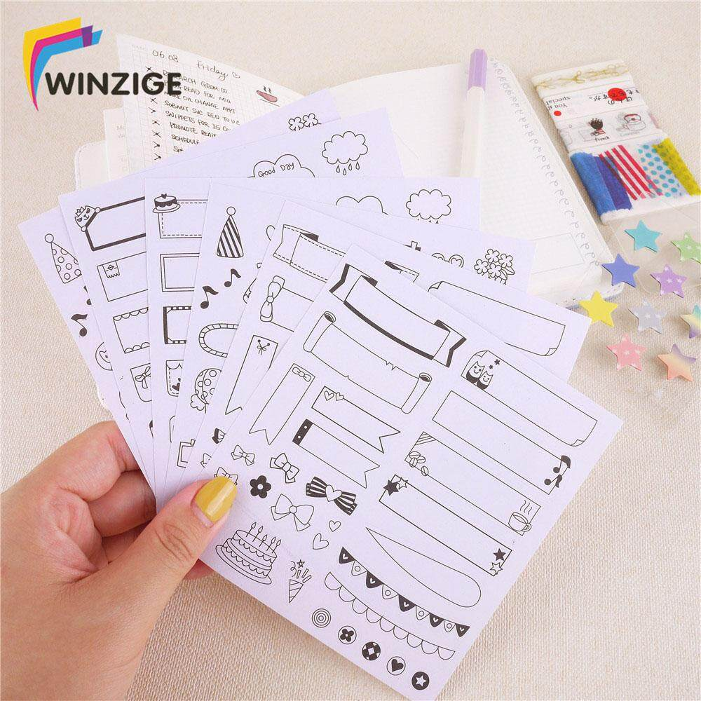 6 Pcs Kawaii Diy Photos Paper Stickers Scrapbooking Calendar Diary Bullet Journal Planner Decoration Student School Stationery By New360.