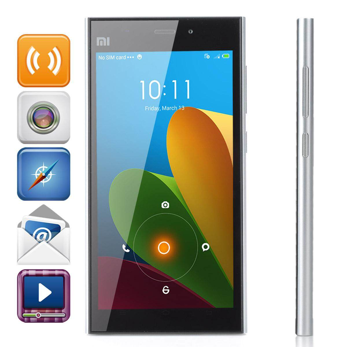 XiaoMi Mi3 MIUI V5 Quad-core WCDMA Bar Phone w/ 5.0 IPS, RAM 2GB and ROM 16GB - Silver