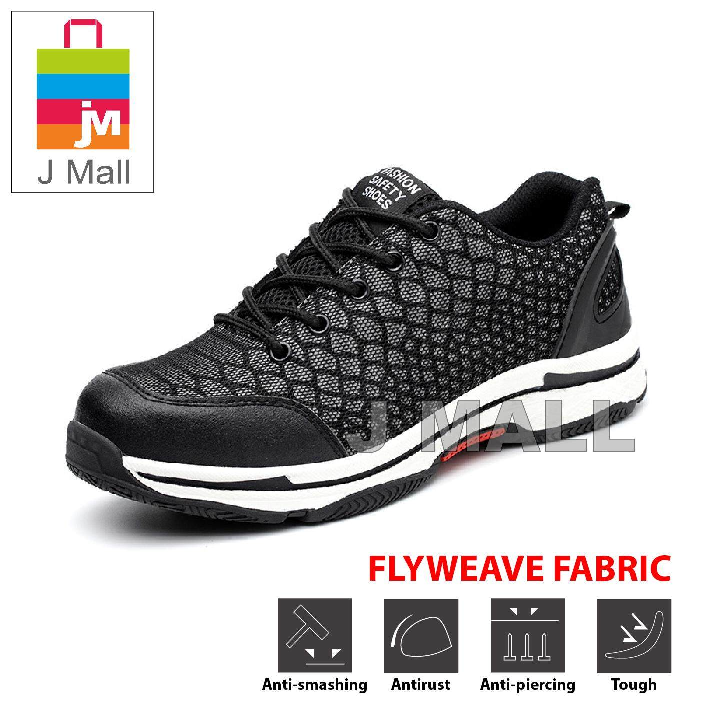 d61eb243265 J Mall Fashion Night Reflective Low-Cut Steel Toe Cap Work Safety Shoes  (Flyweave Fabric) 538 - Black