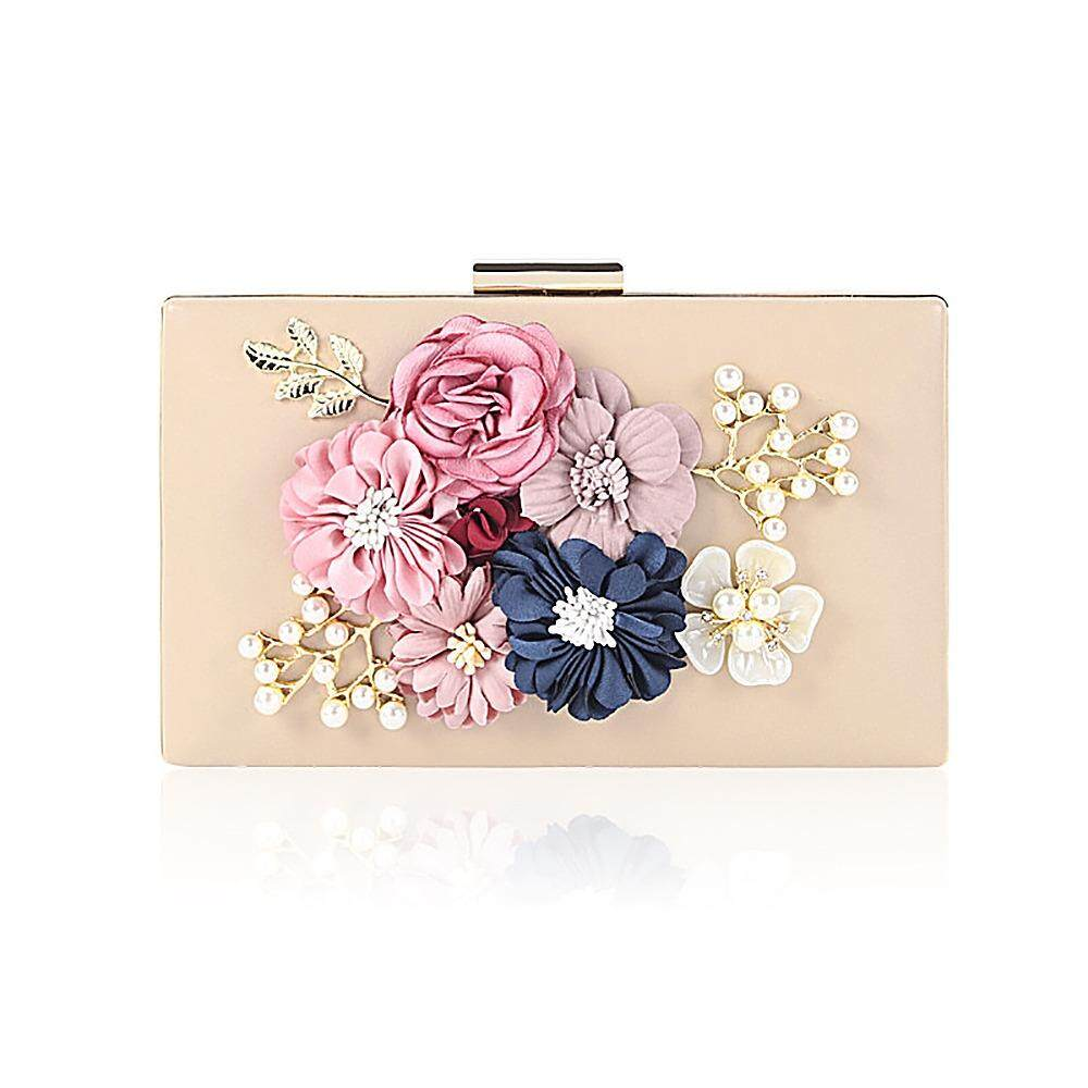 98f372151ce leegoal Lady Women Clutch Evening Bag (with Chain Strap) ,Pearl Flower PU  Leather
