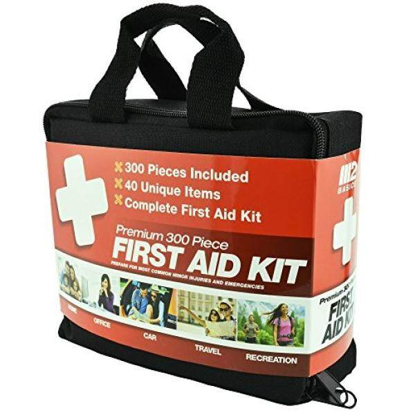 M2 BASICS 300 Piece First Aid Kit w/Bag  FREE First Aid Guide  Emergency Medical Supply  For Home, Office, Outdoors, Car, Camping, Travel, Survival, Workplace