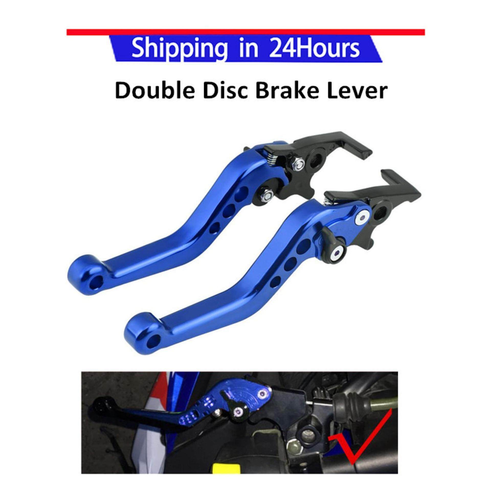 【20% Off】1 Pair Cnc Aluminum Motorcycle Scooter Modification Double Disc Brake Lever Universal Blue By Qilu.