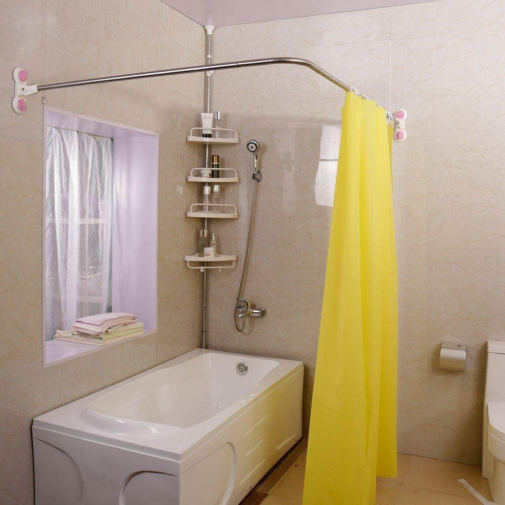 Baoyouni Curved Shower Bath Curtain Rail Bar Metal Expandable Pole Curtain Rod Suction Cups L-Shaped Corner 40.15 X (46.46-70.87) By Baoyouni Home And Living.