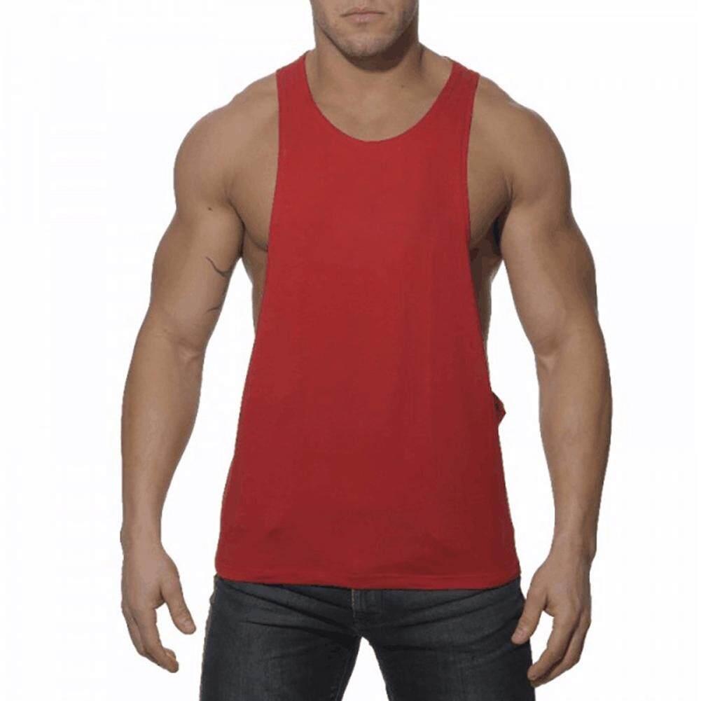 Men Classics Cotton Large Slit Workout Muscle Tanks Vest Undershirts