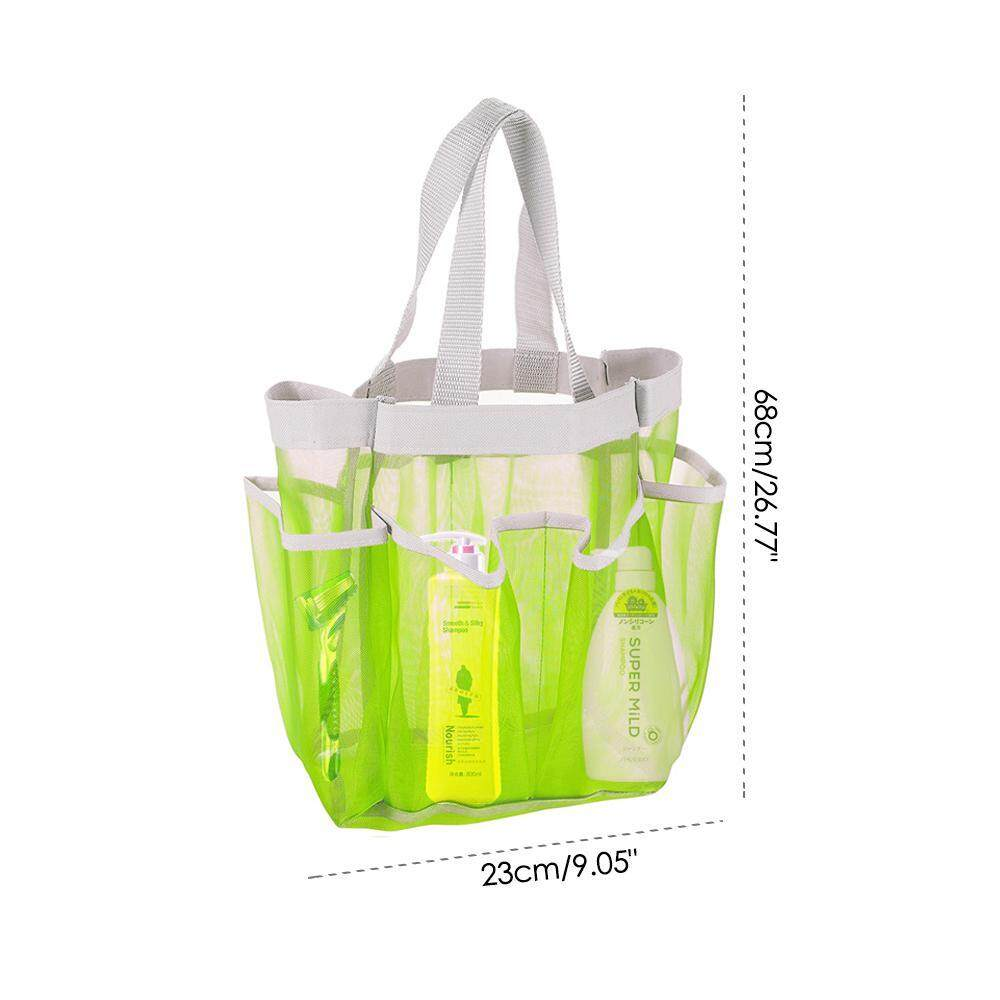 fbf0745d0d11 Bumblebaa Portable Shower Caddy Tote Bag, Aolvo Hanging Toiletry Mesh Bag  with 7 Pocket Bathrooms Organizer for Dorm/Gym/Camp/Travel Green