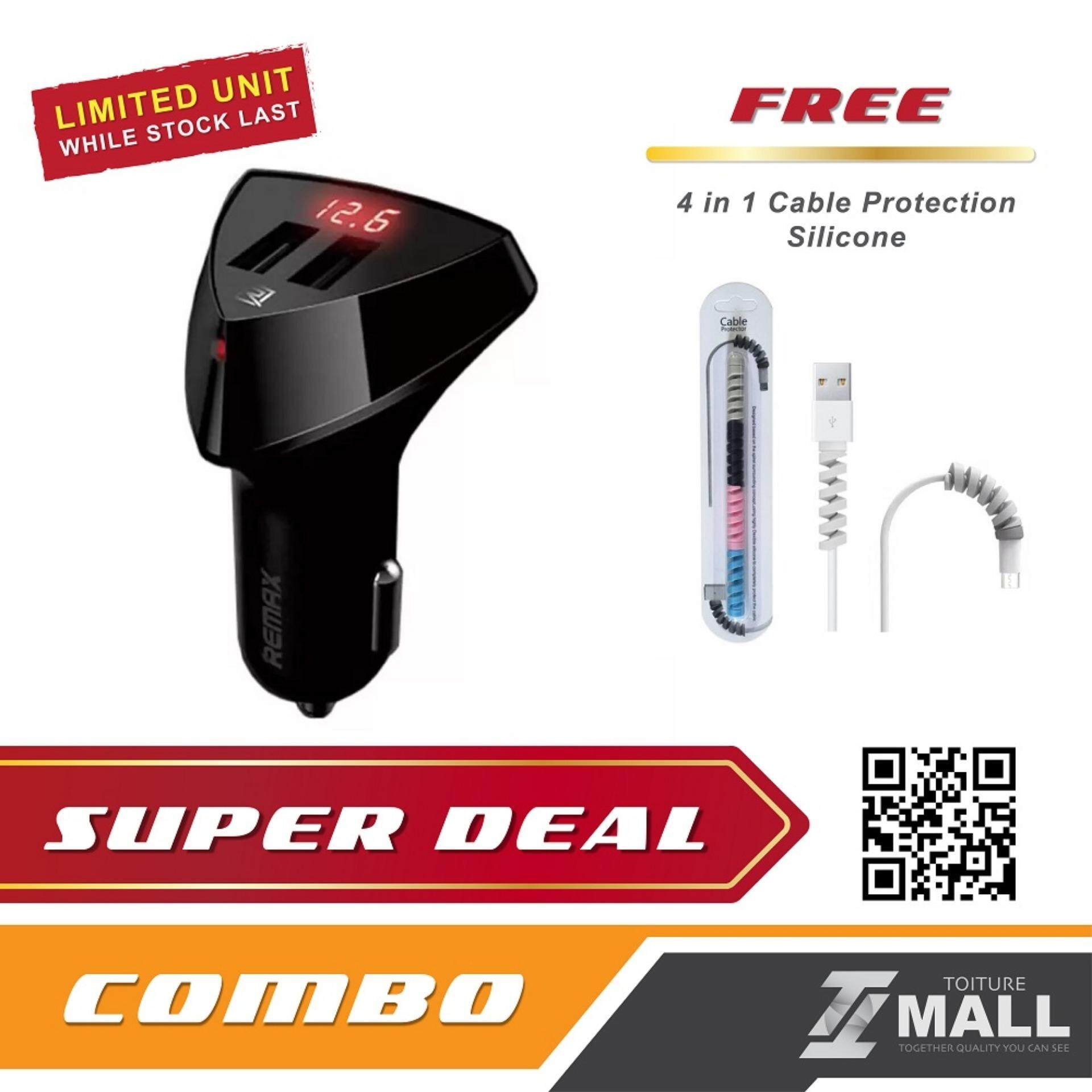 REMAX RC-C208 LED Display Charging Voltage In-Car Charger 3.4A Output with
