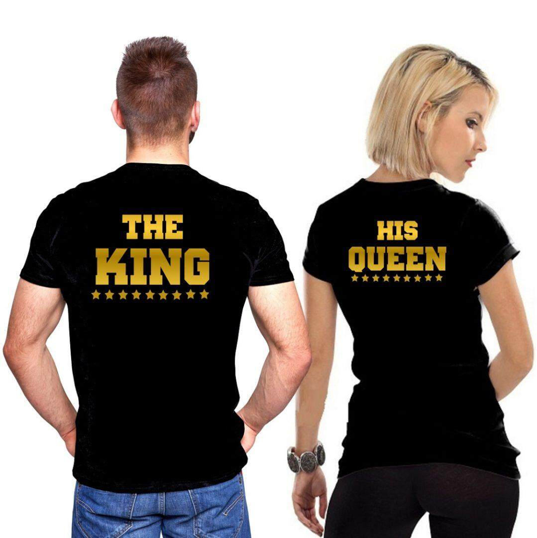 b9a32f167dd The King Queen Couple tshirt 100% Cotton   2018 New Quality Update Unisex T