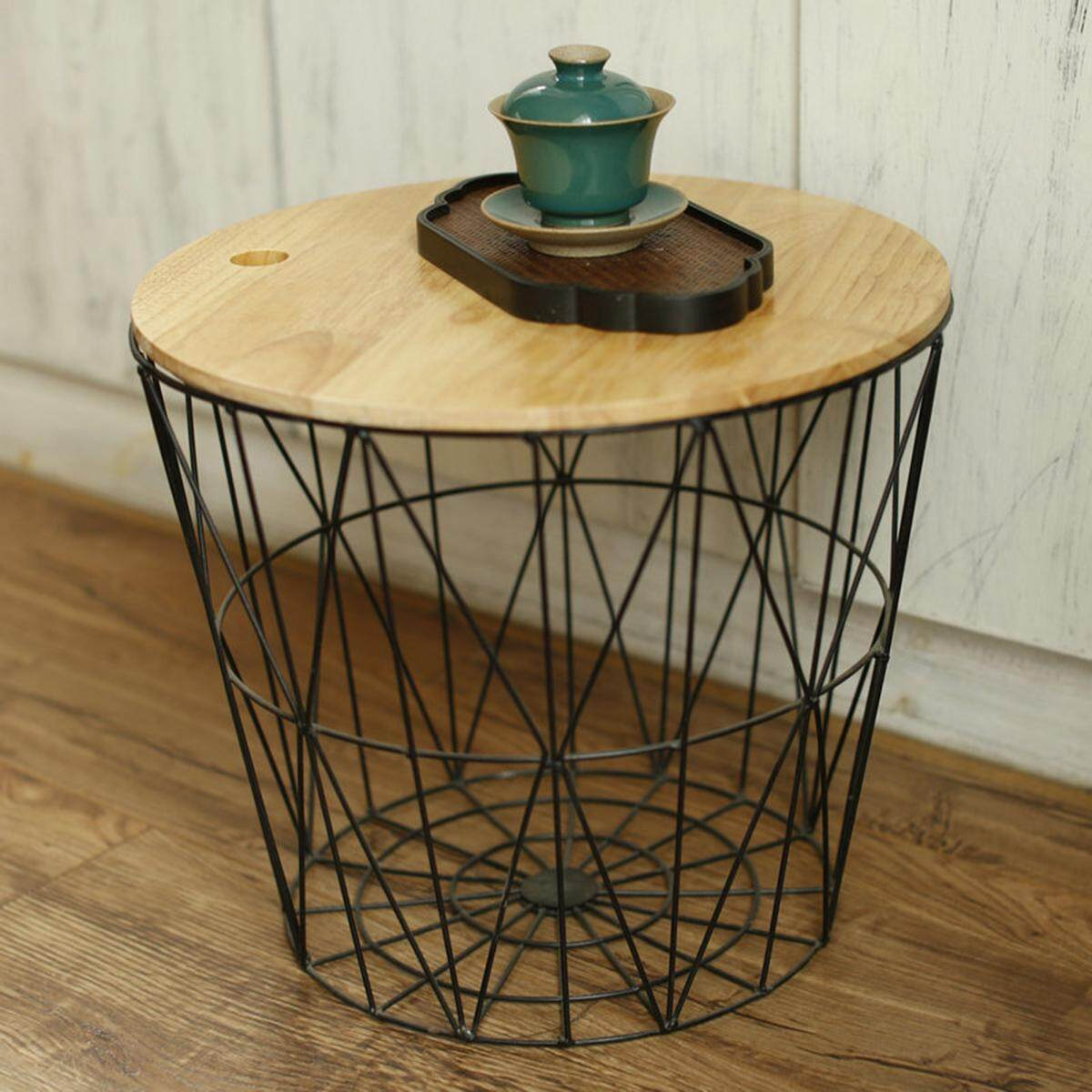 Picture of: White Metal Wire Basket Wooden Top Side Table Storage Loft Living Home Furniture Without Cover Large Black Without Cover Lazada Ph