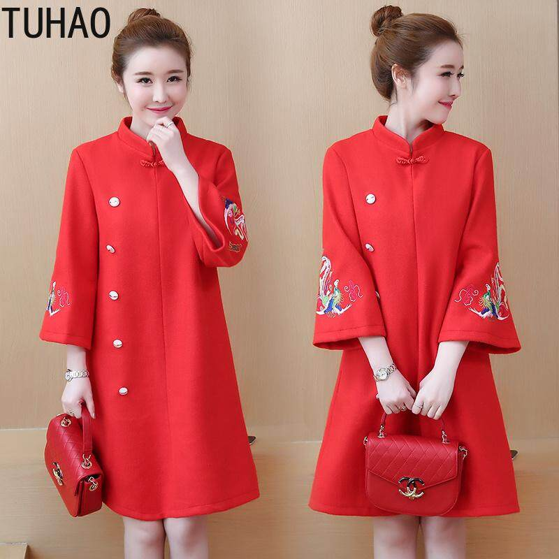 Plus Size 5xl 4xl Vintage Dresses Chinese Style Animal Embroidery Flare Sleeve Winter Red Party Wool Dresses By Be Wonderful Fashion.