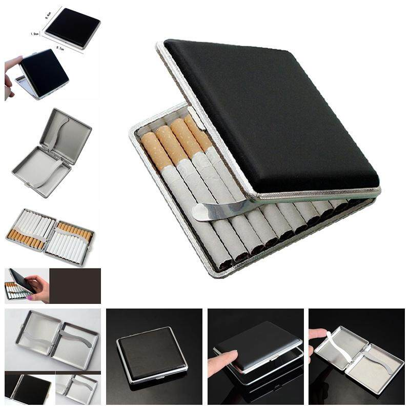 Graceful Classic Leather & Alloy Case Box Metal Holder Container For Lighter Black
