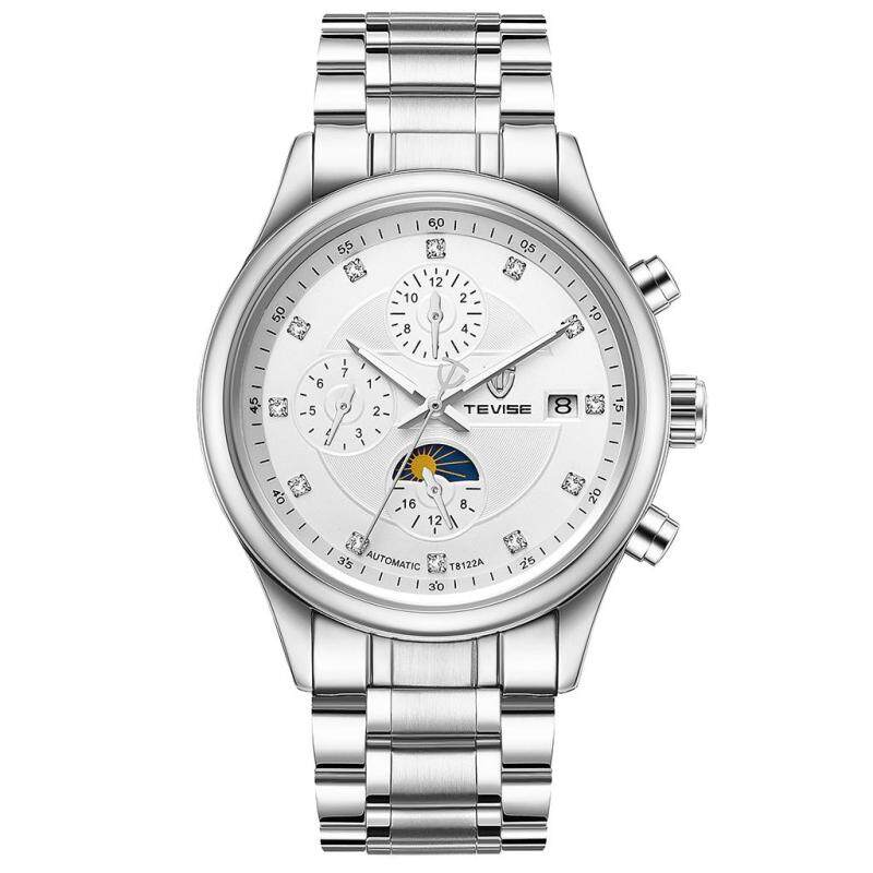 BolehDeals TEVISE Automatic Mechanical 316L Stainless Steel Mens Watch White Malaysia