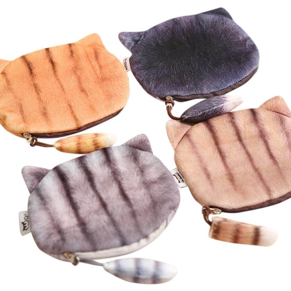 3D Lucu Bergambar Wajah Kucing Dompet Koin Wanita Kartun Ritsleting Perubahan Dompet Tas Kosmetik Kecil