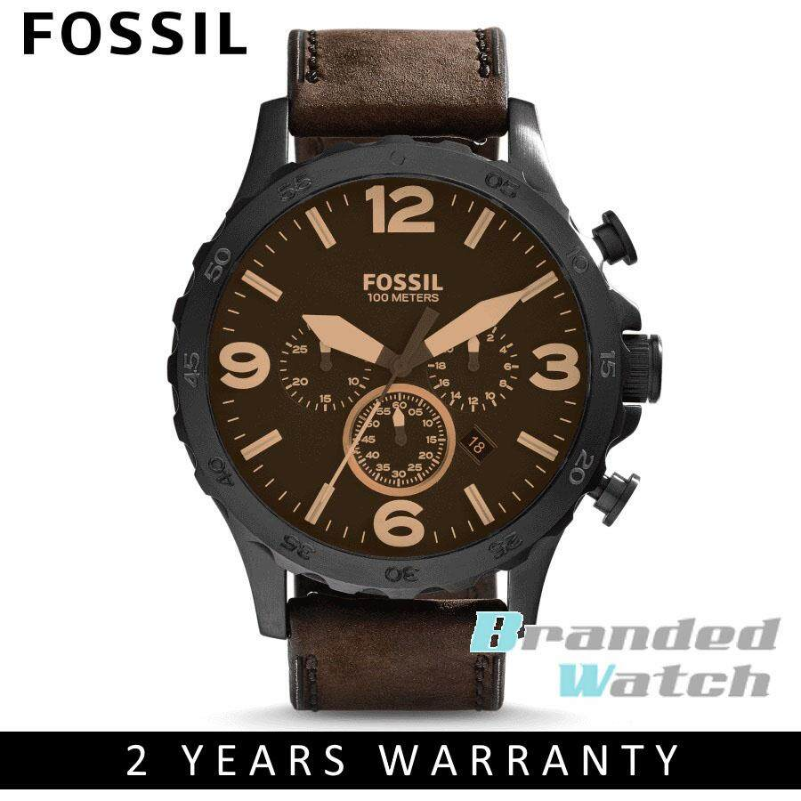 Fossil JR1487 Men's Nate Chronograph Brown Leather Watch