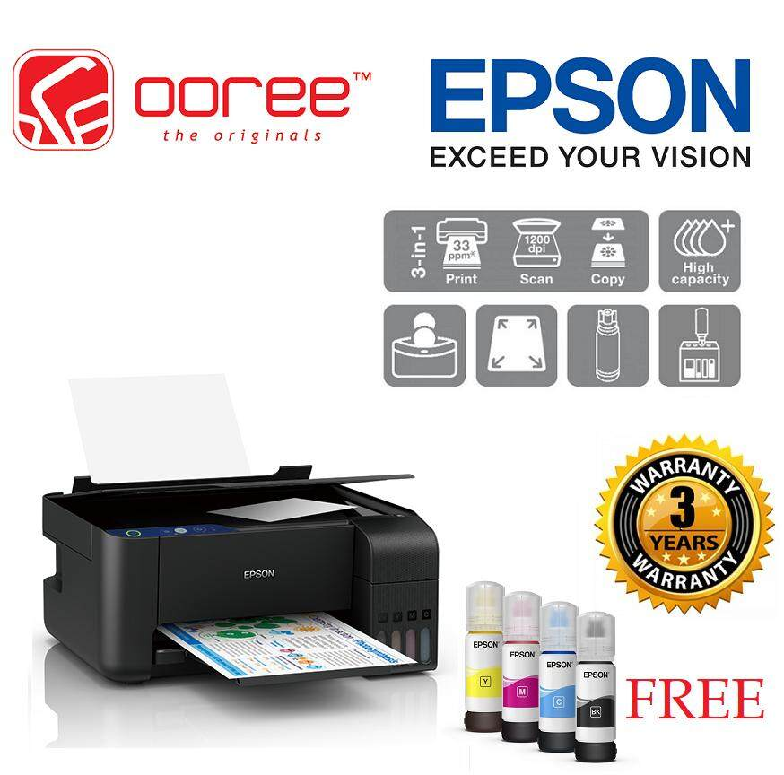 GENUINE EPSON L3110 3 IN 1 PRINT SCAN COPY ECOTANK REFILLABLE INK PRINTER