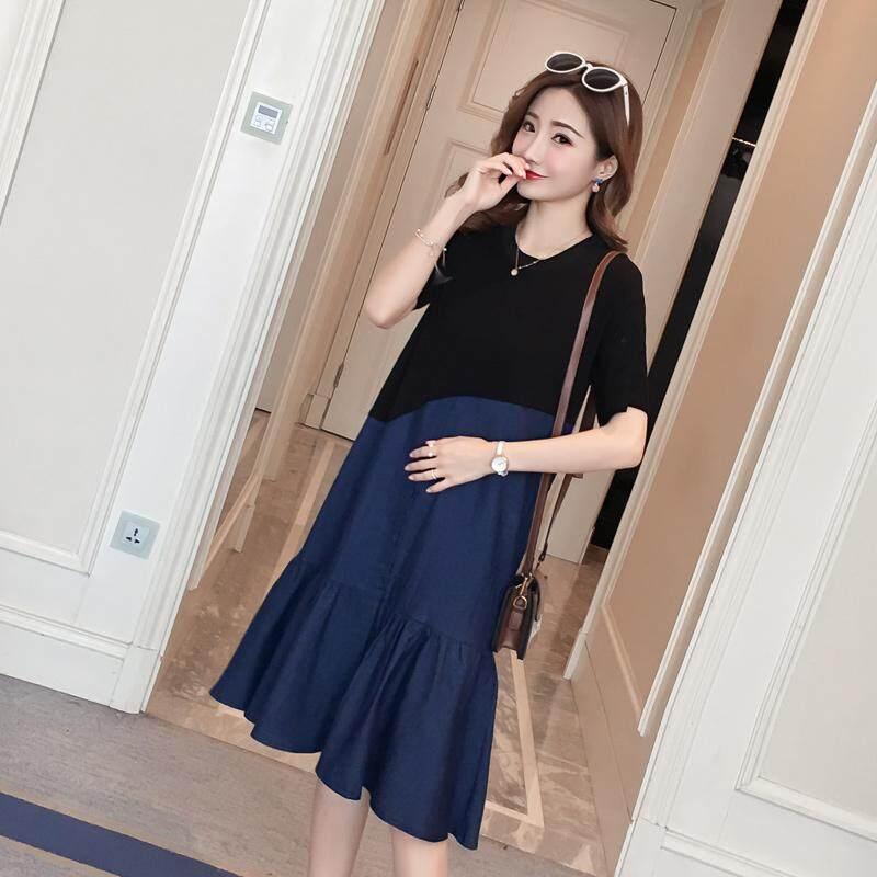 6bbc47b8f033 Stylish Denim Patchwork Cotton Maternity Dress Summer Korean Fashion 3XL  Clothes for Pregnant Women 4XL Pregnancy