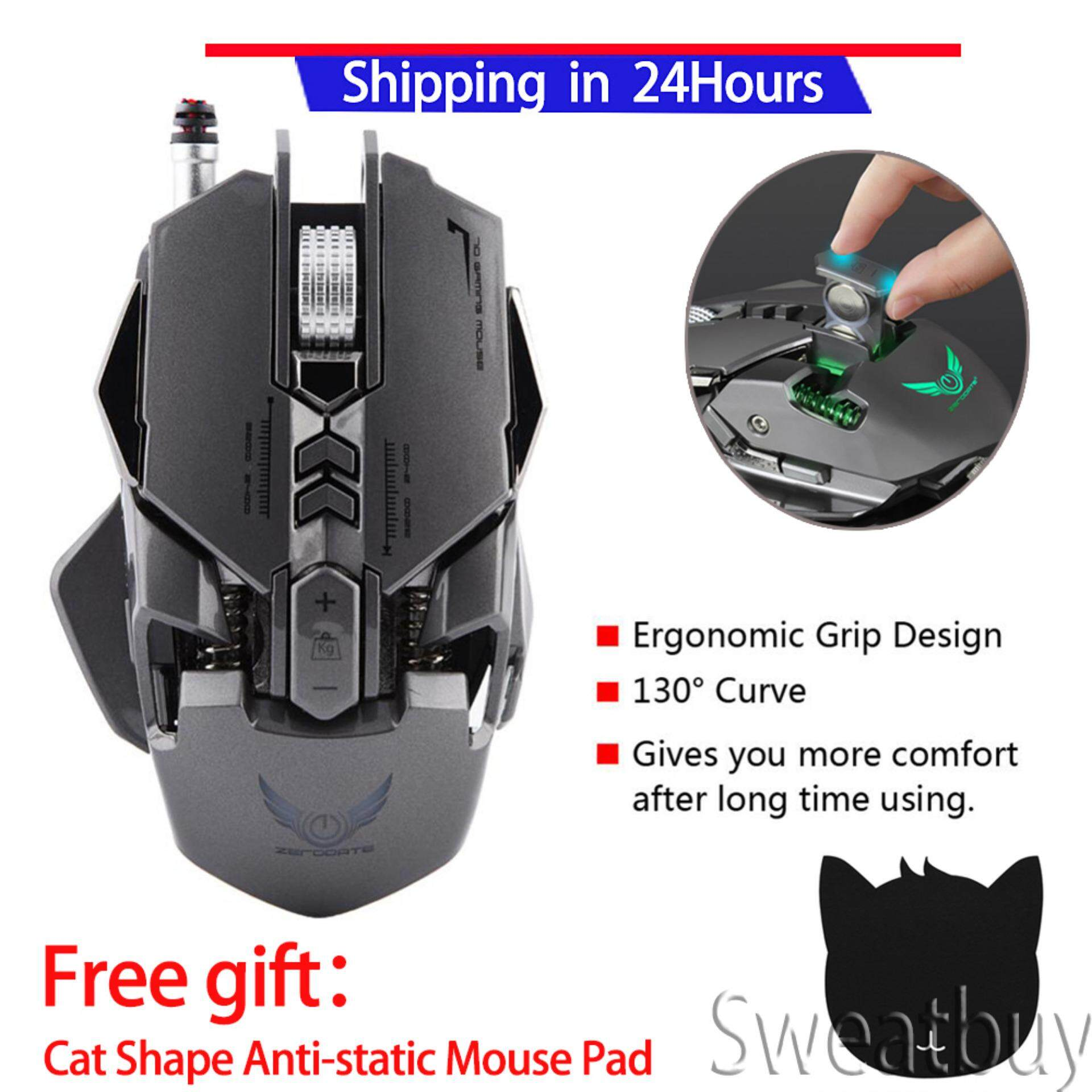 【Buy 1 Get 1 Free Gift】ZERODATE X300GY Gaming Mouse Mechanical Gaming Mouse 250-4000 DPI Adjust Gamer Mice for PC Malaysia