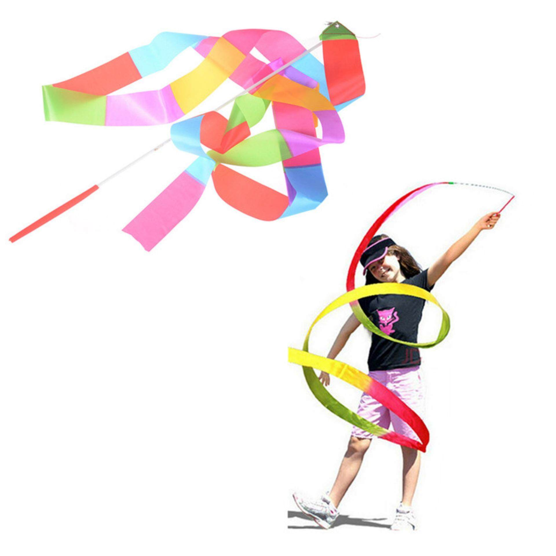 Popular Colorful 4m Ribbon Gymnastics Dance Dancer Toy Kid Outdoor Sport Toy By Blowing Snow.