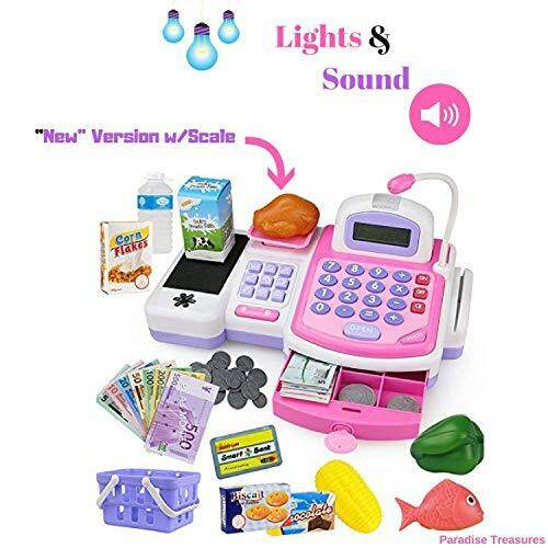 Paradise Treasures Electronic Cash Register Toy Scanner And Credit Card Reader Realistic Actions & Sounds Learning Toy Cash Register For Girls (26pc) (us Seller) By Cross Border.