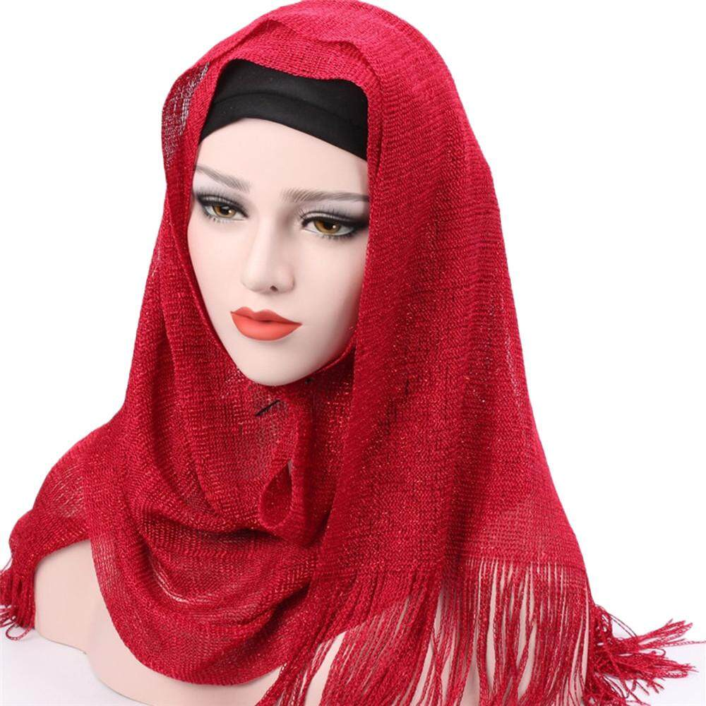 Endowed Women Tassels Muslim Stretch Turban Hat Chemo Cap Hair Loss Head  Scarf Wrap Cap c9e749d68a