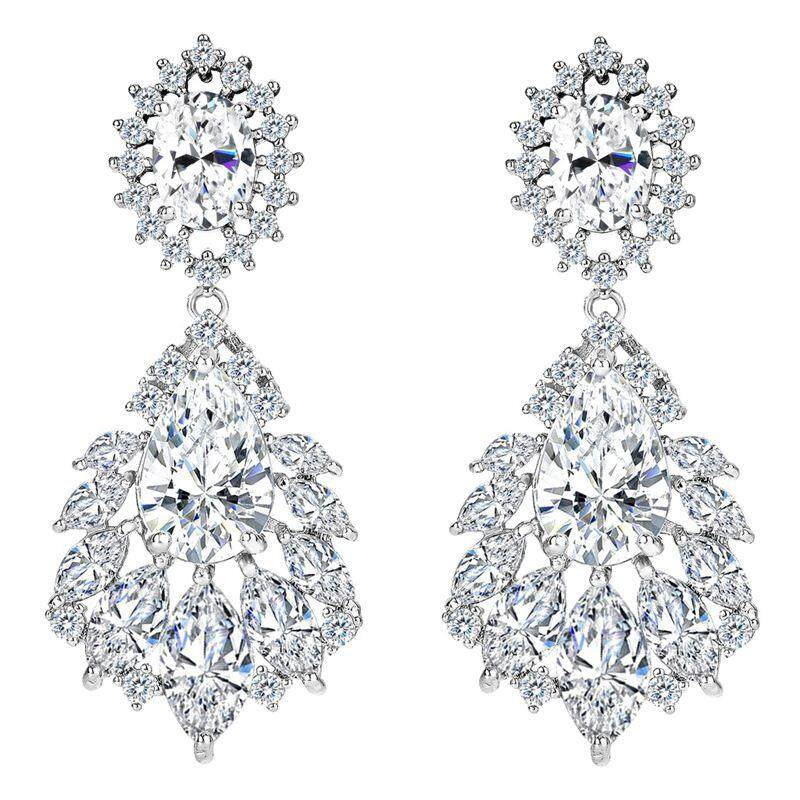 Elegant Chandelier Cubic Zirconia Long Big Crystal Bridal Drop Earring For Wedding Jewelry White By Xhkjin.