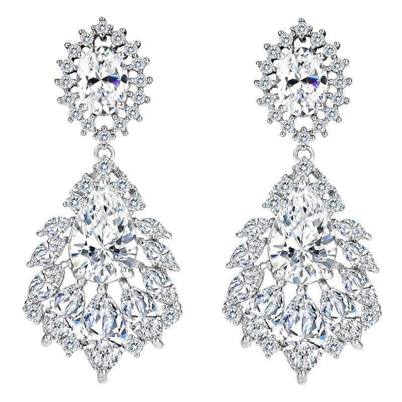 Elegant Chandelier Cubic Zirconia Long Big Crystal Bridal Drop Earring For Wedding Jewelry White By Xhkjin.