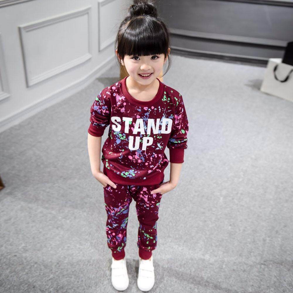 【free Shipping】kid Girls Color Paint Letters Long Sleeve Sweater+pant Sports Suit By Childshop.