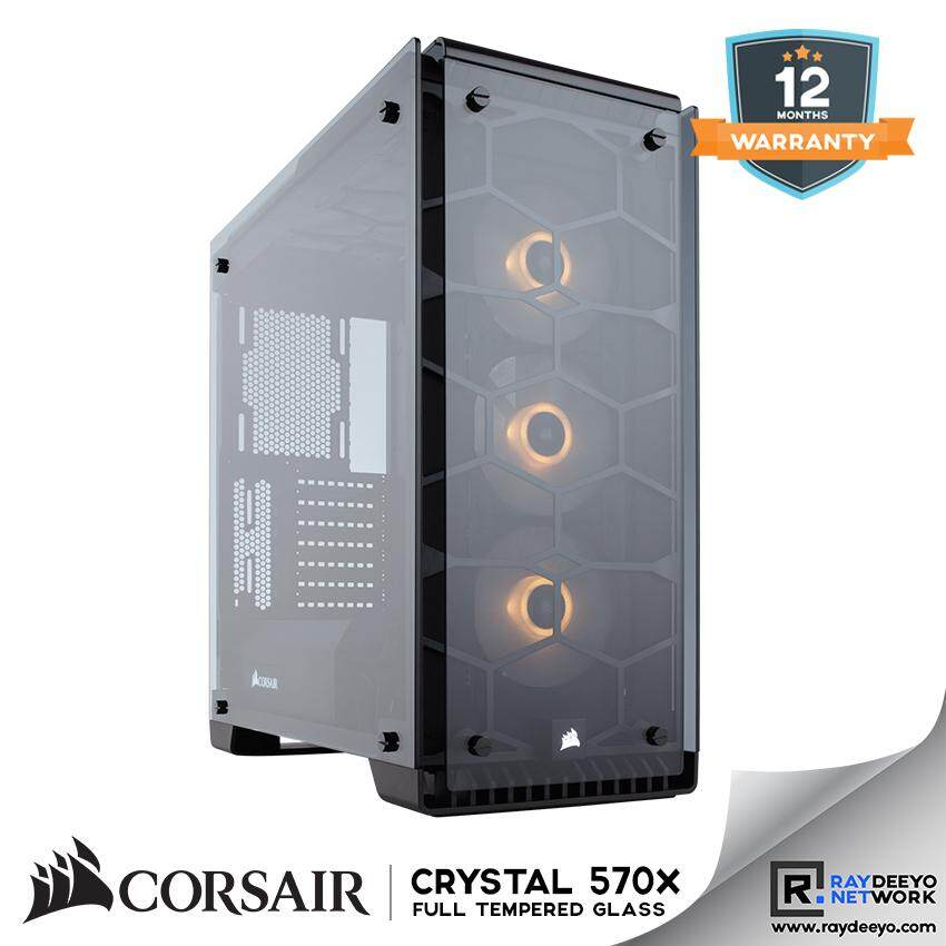 Corsair Crystal Series 570X RGB ATX Mid-Tower Case - (Black) [ATX, Matx, Mini-ITX] Malaysia
