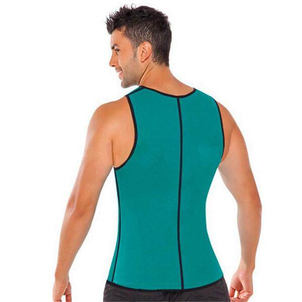Free Shipping Elastic Waist Slimming Vest Gym Clothes Power Belt Body Shapewear Men Hot Shaper Sportswear Green/ Black By Yomichew.
