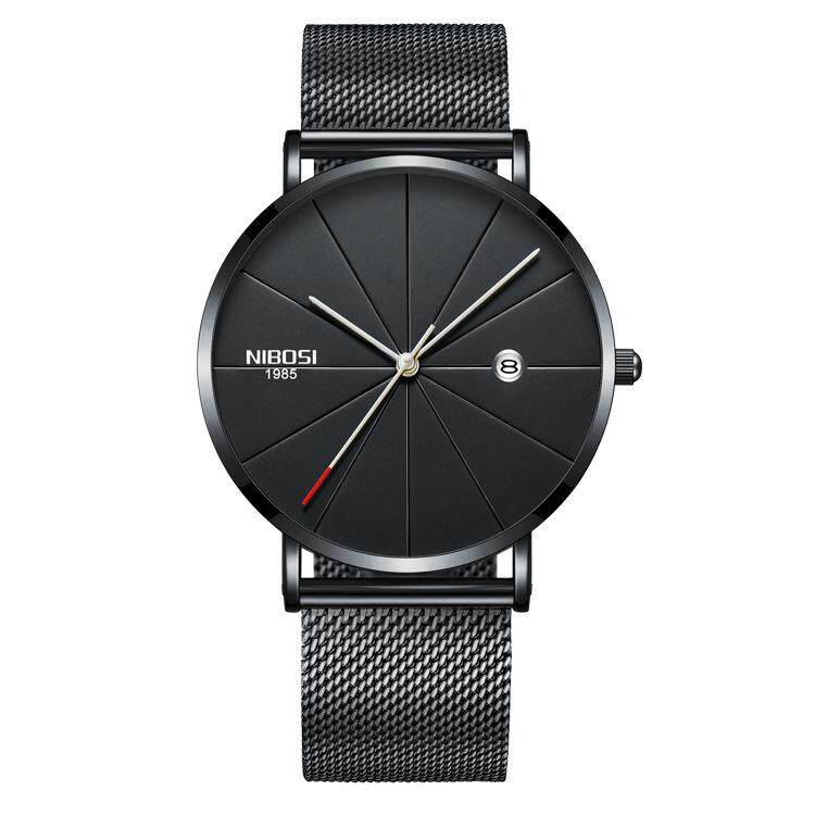 Fashion Casual Business Hardlex Glass Stainless Steel Men Quartz Watch with Date-Black