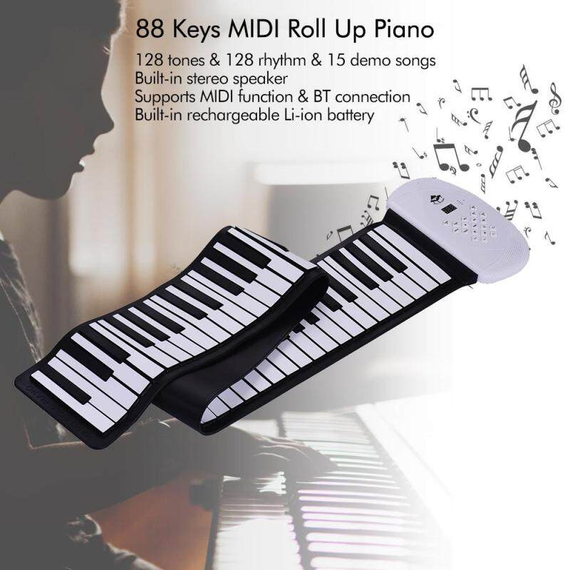 88 Keys MIDI Roll Up Piano Electronic Silicon Keyboard Support BT Connection Record Sustain functions WHITE EU PLUG Malaysia