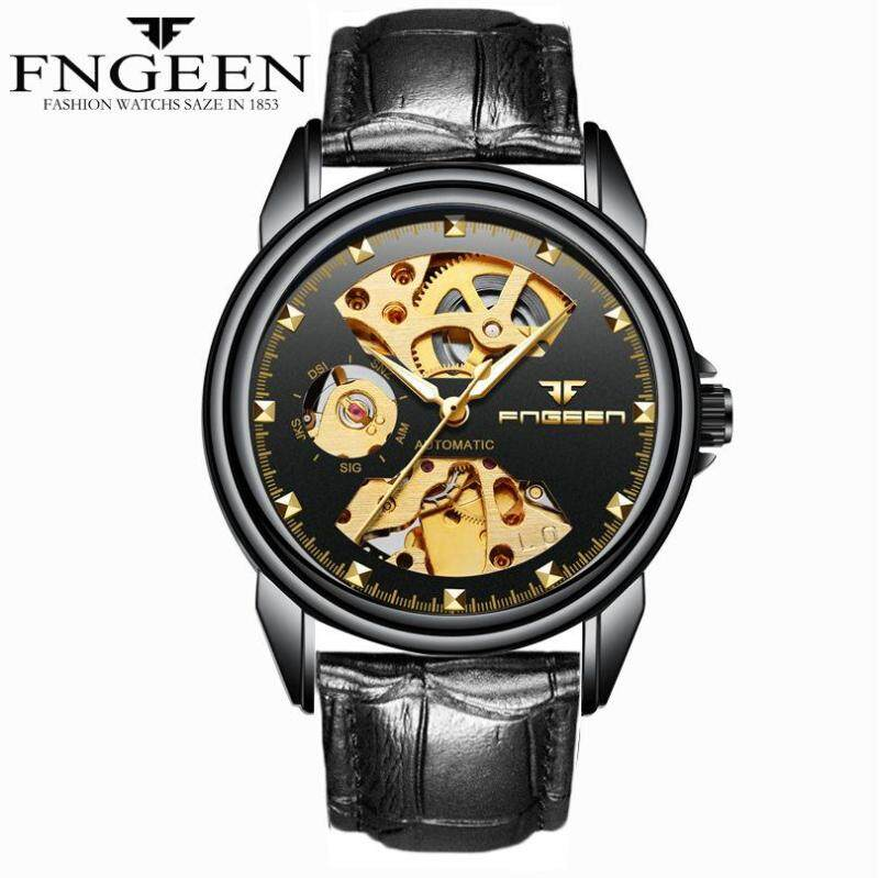 Finnish Watch Man Mechanical Watch Automatic Fashion Trend Large Dial Waterproof Black Hollowed Male Table Malaysia