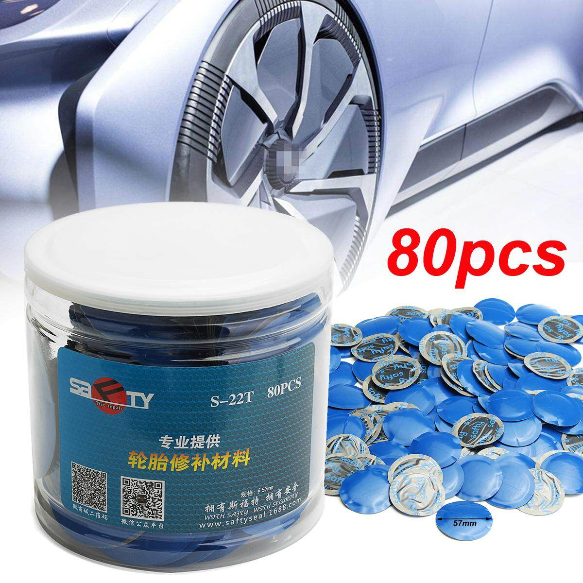 Universal 80pcs 57mm Natural Rubber Wired Tyre Puncture Repair Mushroom Patch By Freebang.