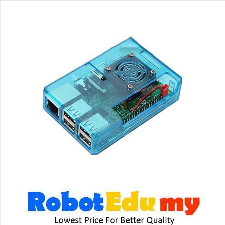 Raspberry Pi 2B 3B 3B+ ABS Casing with Fan Heatsink (Sky Blue/Black) Malaysia