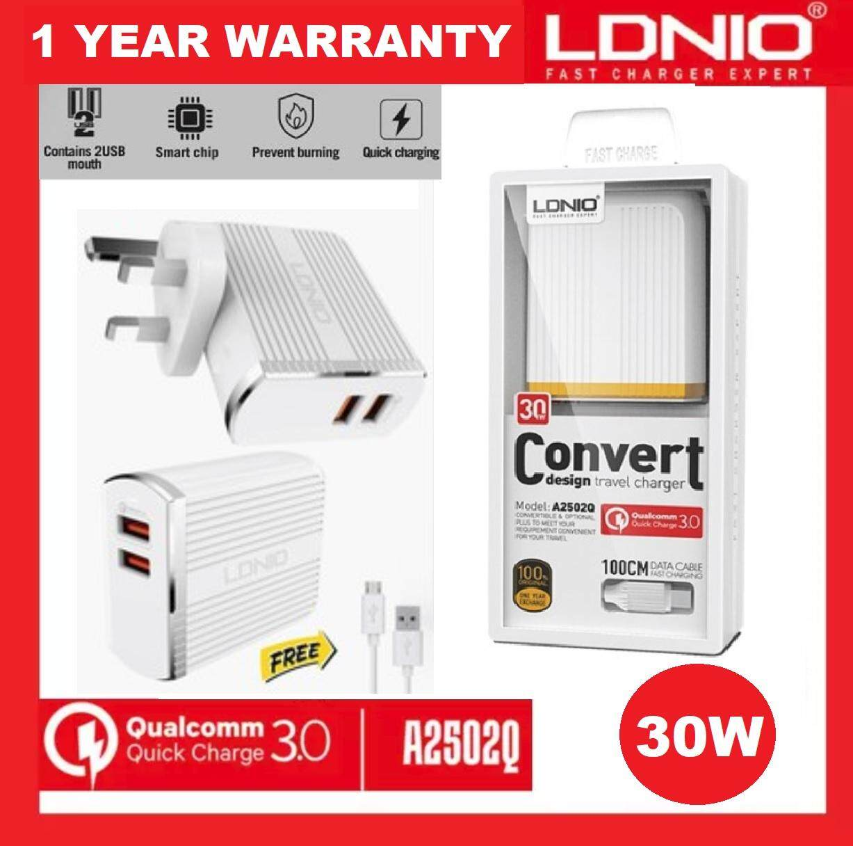Ldnio Products For The Best Prices In Malaysia Travel Charger Oppo Qualcomm 30 1year Wrty 2018 A2502q 30w Qc Uk Plug