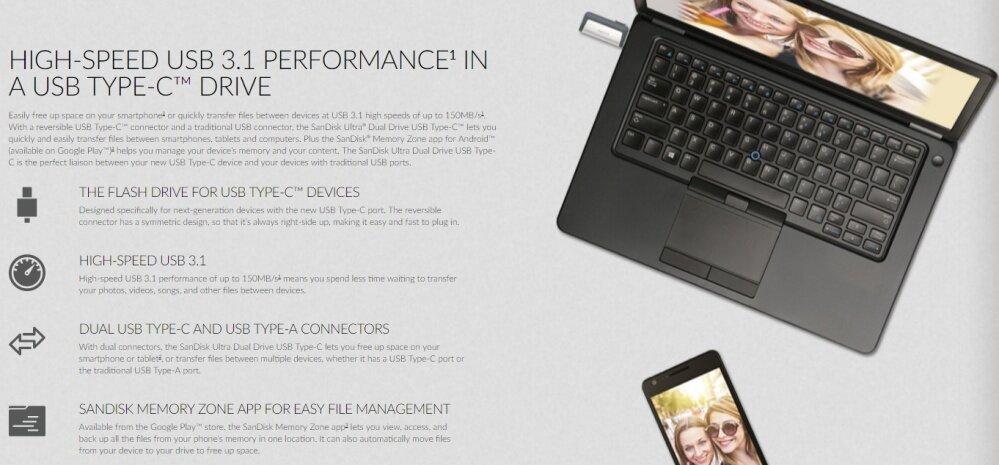 SanDisk USB OTG 128GB Ultra Dual USB 3.0 On-The-Go Flash Drive New ct
