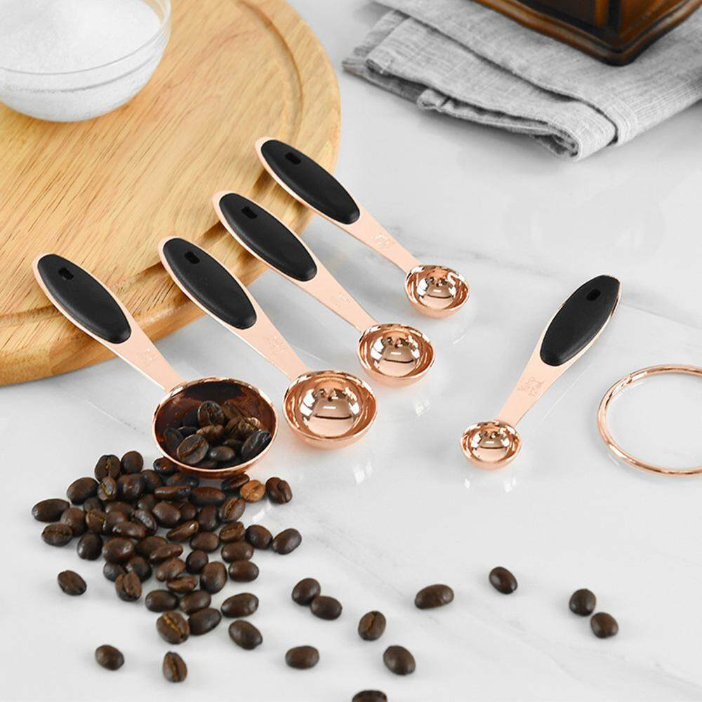 Hastra Diy Baking Tool Rose Gold Stainless Steel Measuring Cup And Spoons Set Of 5 By Hastra.