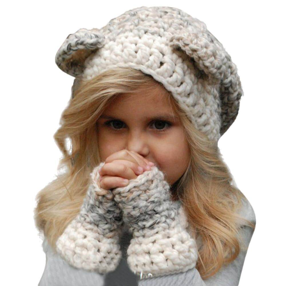 787aed3a9d0 Winter Kids Warm Owl Cute Hat Knitted Hood Scarf Beanies For Autumn Winter