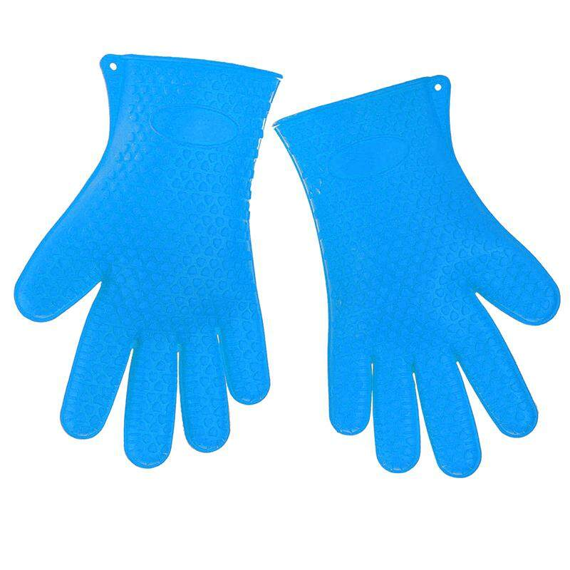 Two Barbecue Heat Resistant Silicone Gloves Oven Kitchen Grill BBQ Cooking Mitts, Blue