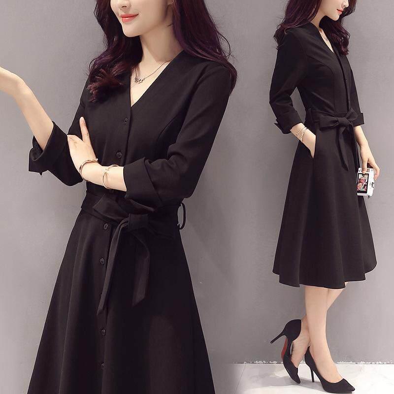 1b4b4b18da72 2018 Autumn And Winter The New Women's Clothing Slim Fit Slim Dress Fashion  Autumn Clothing Medium