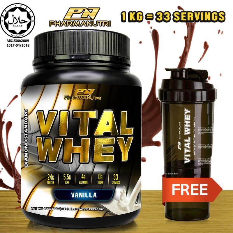 Whey Protein Halal – Vital Whey (Vanilla) 1kg/2.2lbs, Whey Isolate With 24g Protein, 33 Servings - Fast Muscle Recovery + FREE Official 3-in-1 Pharmanutri Vital Whey Protein Shaker/Blender/Mixer 17oz/500ml (Black)