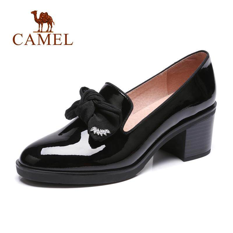 df50b3b645 Camel 2018 autumn new with heel shoes pointed leather shoes female black  work shoes bow temperament