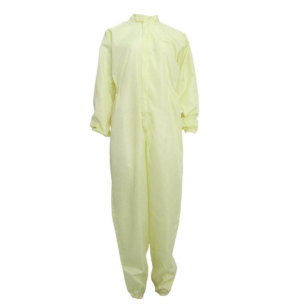 Miracle Shining Antistatic Industrial Chemical Protective Suit Coverall Cloth Light Yellow M