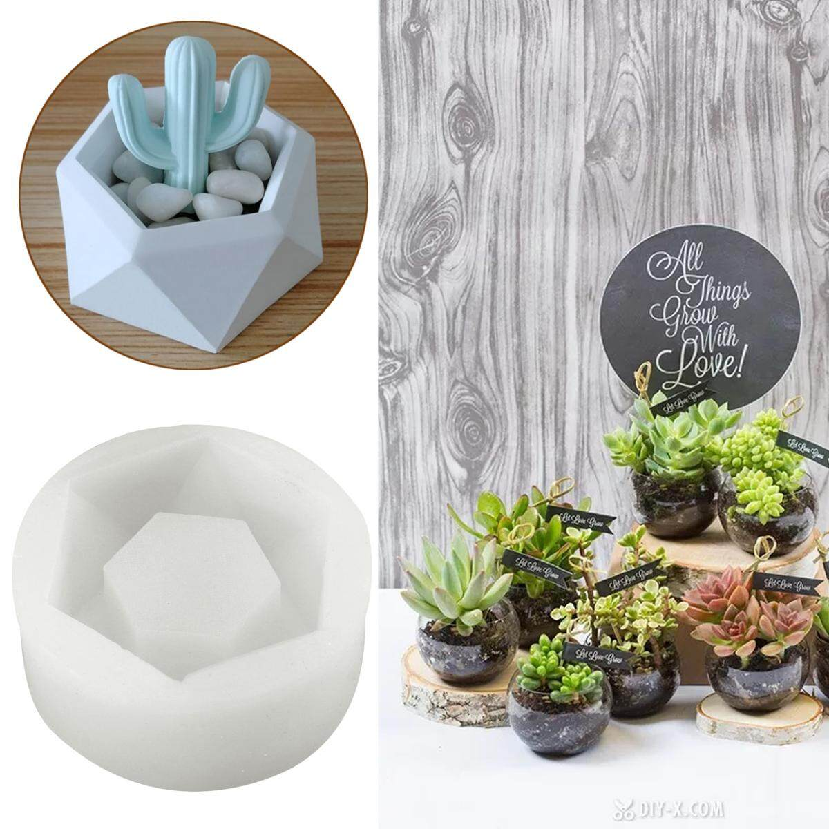 3D Geometric Flower Pot Silicone Molds DIY Garden Planter Concrete Vase Mould Tool