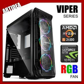 ARTIDEA LUX ll VIPER GAMING PC ( RYZEN 5 2600 / AB350M MOBO / 8GB 2666MHz RAM / GTX 1070 TI 8GB TWIN FAN / 1TB HDD / FPS 600W 80+ BRONZE PSU )